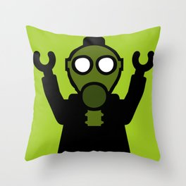 Apocalyse Minifigure wearing Gasmask by Customize My Minifig Throw Pillow