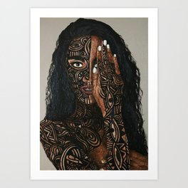 African Art Body Paint Portait Art Print