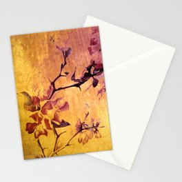 japanese crab apple flowers on golden tones Stationery Cards