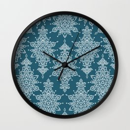 Beautiful lace like mirrored symmetry artistic curves pattern in white with dark blue background Wall Clock