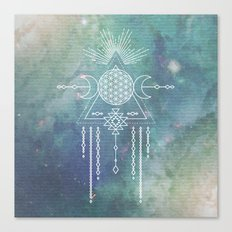 FLOWER OF LIFE - Turquoise Teal Blue Magical Tribal Galaxy Stars Symbol Canvas Print