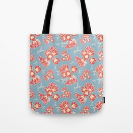 Floral Blue Tote Bag