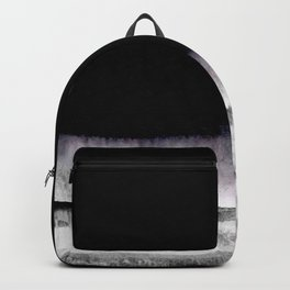 black and gray abstract landscape painting Backpack