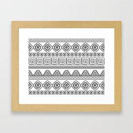 ethnic pattern black & white Framed Art Print