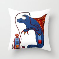 dolphin Throw Pillows featuring Dolphin by JBLITTLEMONSTERS