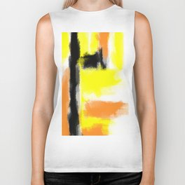 orange yellow and black painting abstract with white background Biker Tank