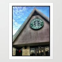 starbucks Art Prints featuring Starbucks by Chelsea Gibson