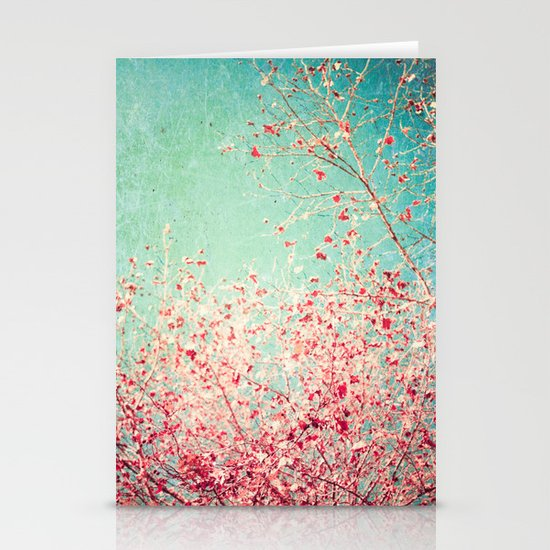 Blue Autumn, Pink leafs on blue, turquoise, green, aqua sky Stationery Cards