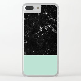 Pastel Mint Meets Black Marble #1 #decor #art #society6 Clear iPhone Case