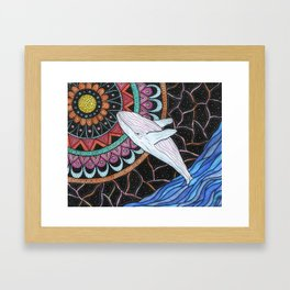 A jump to the moon of colors Framed Art Print