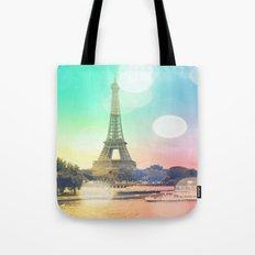 Paris. : Pastel Rainbow Bokeh Tote Bag