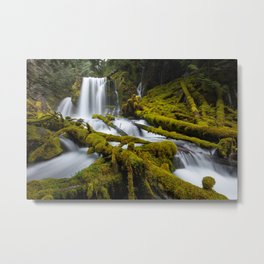 Mossy Forest Waterfall Metal Print
