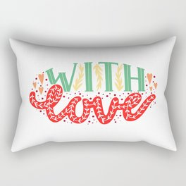 With Love Lettering Print Rectangular Pillow