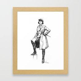 """""""Female Rider in Long Overcoat"""" Framed Art Print"""