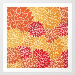 Shades of Orange Flower Pattern - Floral Art Art Print
