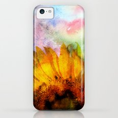 Sunflower on colorful watercolor backround iPhone 5c Slim Case