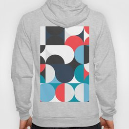 Circles Curves Shapes, Abstract and Geometry, Red, White, blues, black Hoody
