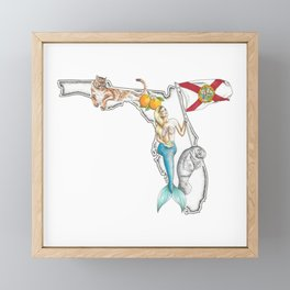 Florida Mermaid Framed Mini Art Print