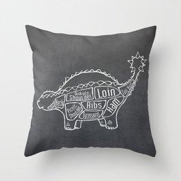 Ankylosaurus Dinosaur (A.K.A. Armored Lizard) Butcher Meat Diagram Throw Pillow