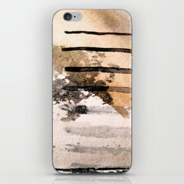 Desert Musings - a watercolor and ink abstract in gray, brown, and black iPhone Skin