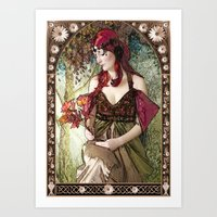 art nouveau Art Prints featuring Nouveau by CreativeByDesign