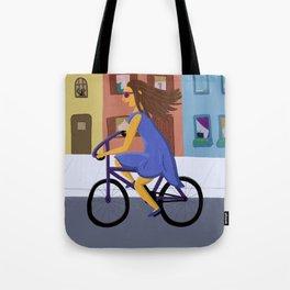 Lady in a Dress on a Bike Tote Bag