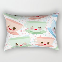 Cute blue pink green Kawai cup, coffee tea with pink cheeks and winking eyes, polka dot background Rectangular Pillow