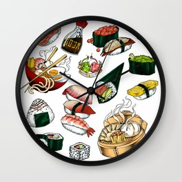 Sushi White Wall Clock