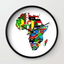 Flags of African countres Africa map Wall Clock