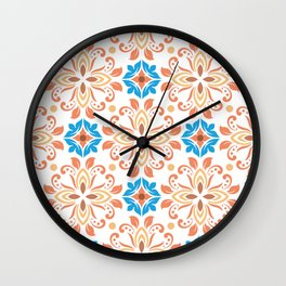 Shiny Happy Midcentury Style Pattern in Orange and Teal Wall Clock