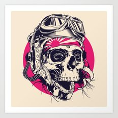 Skull with pilot helmet illustration Art Print