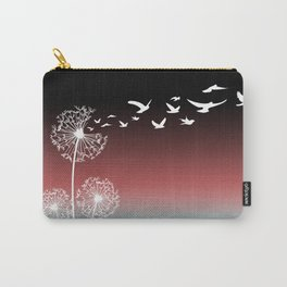 Dandelions Blow Into Birds Black Pink Teal Carry-All Pouch