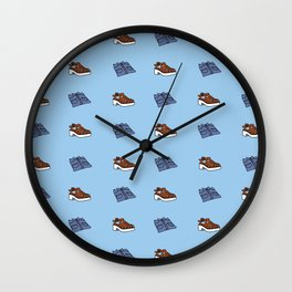 Shirt n Shoe Repeat Print- Blue Wall Clock