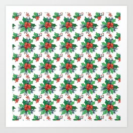 Green red orange Christmas sweet candy holy floral Art Print