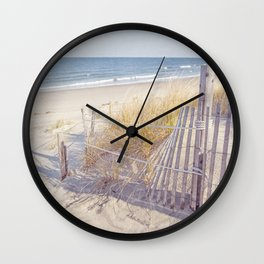 Taupe and Blue Seascape Wall Clock