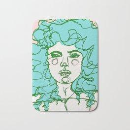 Turquoise Mermaid Curls Bath Mat