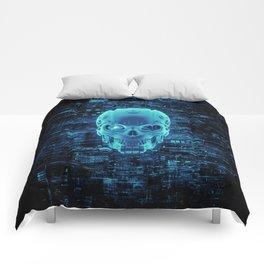 Gamer Skull BLUE TECH / 3D render of cyborg head Comforters