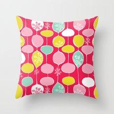 Snowflake Holiday Bobbles Throw Pillow