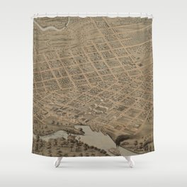 Vintage Pictorial Map of Jefferson TX (1872) Shower Curtain