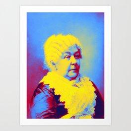 Elizabeth Cady Stanton about 1902 Neon art by Ahmet Asar Art Print