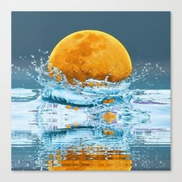 FALLING MOON OCEAN SCI-FI ILLUSION Canvas Print