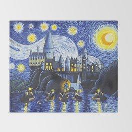 Starry Night At Hogwarts Throw Blanket