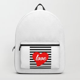 Red Heart, Love, Typography, Black Stripes, Backpack