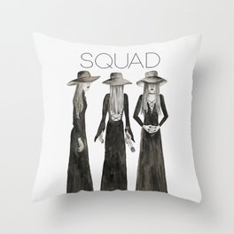 Southern Gothic Witch Trio Watercolor Throw Pillow