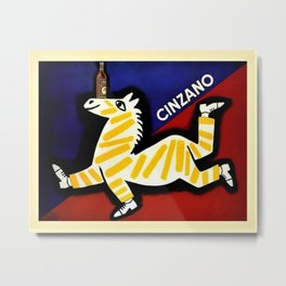 Vintage Cinzano Italian Yellow Zebra Advertisement Wall Art Metal Print