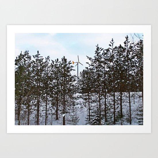 Windmill Through the Trees Art Print
