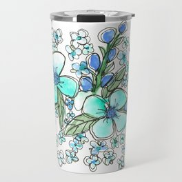 Blue Forget Me Not Floral Watercolor Travel Mug