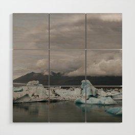 Iceberg lagoon in Iceland with dramatic Sky Wood Wall Art