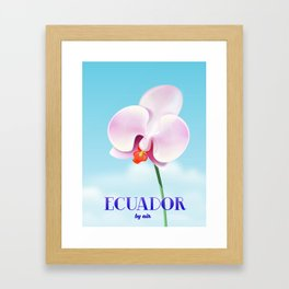 Ecuador Orchid travel poster print, Framed Art Print