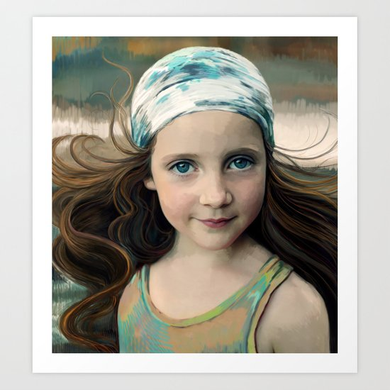 Dancer at Dusk - portrait painting of a young girl Art Print